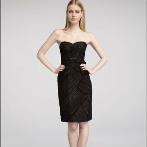 Monique Lluhllier Black Lace Ruched Dress Sz 2